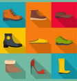shoemaker icons set flat style vector image vector image