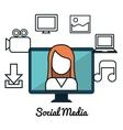 social media concept flat icons vector image