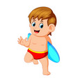 surfer man is holding surfboard vector image
