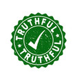 truthful scratched stamp with tick vector image vector image