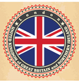 Vintage label cards of United Kingdom flag vector image vector image