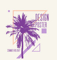 vintage poster with palm tree and geometric shapes vector image vector image