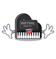 virtual reality piano mascot cartoon style vector image