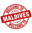 welcome to maldives red round vintage stamp vector image vector image