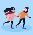 young loving couple do figure skating vector image