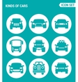 set of round icons white Kinds of cars SUV car vector image