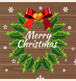 merry christmas design template with wreath vector image