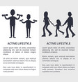 active lifestyle picture with people silhouettes vector image vector image