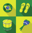 Brazil Soccer football icons flat style vector image vector image