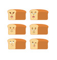 bread emoji emotion set aggressive and good rooty vector image vector image