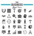 business solid icon set finance signs collection vector image vector image