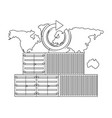 cargo containers and map in black and white vector image