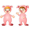 cartoon kids wearing pigs costume vector image vector image