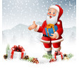 cartoon santa claus holding a gift box vector image vector image