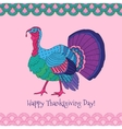 Colorful turkey on pink background vector image
