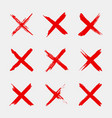 cross sign x icon red sketch mark grunge brush vector image vector image