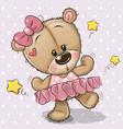cute cartoon teddy bear ballerina vector image vector image