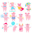 cute piggy in different costumes superhero vector image vector image