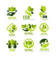 eco organic logo design set premium quality vector image vector image
