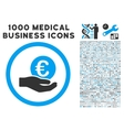 Euro Salary Hand Icon with 1000 Medical Business vector image vector image