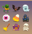 funny halloween icons-set 1 vector image vector image