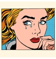 Girl crying woman face vector image