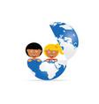 globe with children cartoon vector image