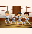 kids practicing martial arts in the dojo vector image vector image