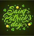 lettering and clover leaves vector image vector image