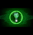 light bulb on green abstract technology background vector image