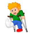 little man with broken leg vector image