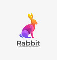 logo sitting rabbit gradient colorful vector image