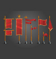 medieval cartoon flag set game design assets vector image vector image