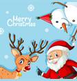 merry christmas blue template vector image vector image