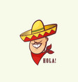 mexican man head with traditional sombrero and red vector image