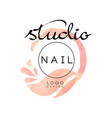 nail studio logo creative design element for nail vector image