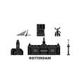 netherlands rotterdam flat travel skyline set vector image vector image
