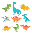 nine colorful cute dinosaurs vector image