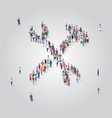 people crowd gathering in wrench and hammer shape vector image vector image