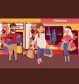pregnant woman in shopping mall with family and vector image