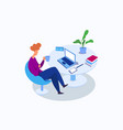 relaxing in office having coffee in office vector image vector image