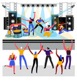 rock music concert rockers and fans show on vector image vector image