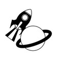 rocket space with saturn planet vector image vector image