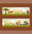 safari hunting set banners vector image vector image