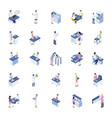 scientific lab isometric icons pack vector image