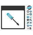 Screwdriver Calendar Page Icon With Bonus vector image vector image