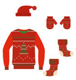 set of christmas warm knit clothes vector image
