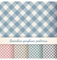 set seamless checkered gingham patterns vector image