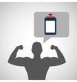 silhouette man bodybuilder bottle vector image vector image