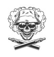 skull wearing panama hat and sunglasses vector image vector image